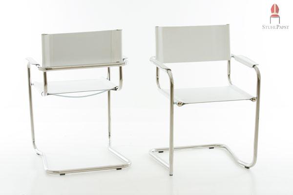 Freischwinger Stühle Leder Weiss ~  Echtleder Freischwinger Stühle stapelbar verchromt Farbe WEISS